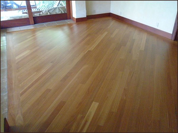 Refinished wood floor in a remodeled home